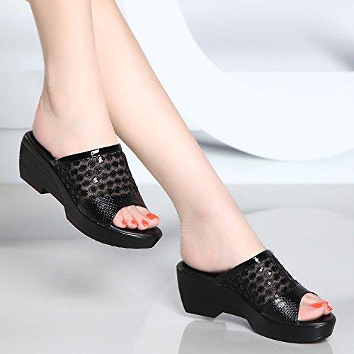 GTVERNH-4.5cm Nero con con con Le Pantofole Donna Summer Spesso con la Madre Scarpe Impermeabili Piattaforma Spessa Basso Pendio con Sandali Femminili,42 42fad3