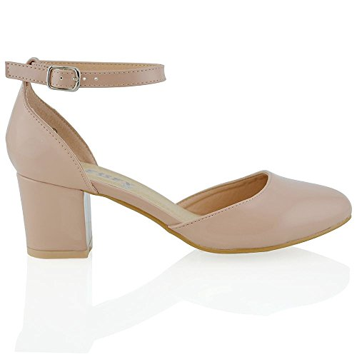 Essex Glam Womens Nude Patent Low Mid Block Heel Ankle Strap Court Shoes 5 B(M) US
