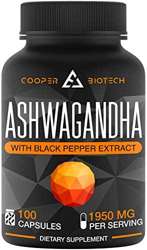 Ashwagandha - 100 Capsules 1950MG - Stress Relief - Anti Anxiety - Mood Enhancer - Organic Ashwagandha Root Powder Extract - Cortisol & Adrenal Support - Adrenal Fatigue - Thyroid Support Supplements