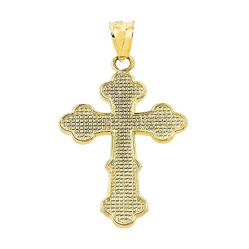 Petits Merveilles D'amour - 10 ct Or Jaune 471/1000 orthodoxe Croix Collier Pendentif (Livré avec un 45 cm Chaîne)