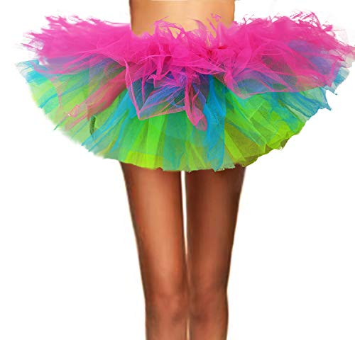 ASSN Women's Classic 80s Mini Puffy Tutu Halloween Run Bubble Ballet Skirt 6-Layered Rainbow Regual