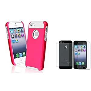 Cerhinu Everydaysource compatible with Apple? iPhone? 5 Hybrid White TPU/ Hot Pink Hard Case + 2 LCD Kit (Front & Back...