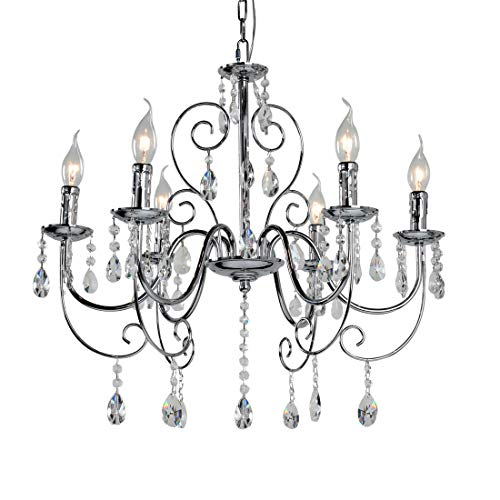 Crystal Chandelier Lighting 6 Lights Vintage Candle Style Chandeliers Pendant Ceiling Light Fixture for Living Room Bedroom Elegant Decoration E12 Bulbs Required H21.26 X L24.41inch ()