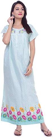 Free Size Combo Pack Green /& Blue Indian Handicraft Nightwear Long Gown Nighty Dress Embroidery Sleepwear Gown Nighties White Size
