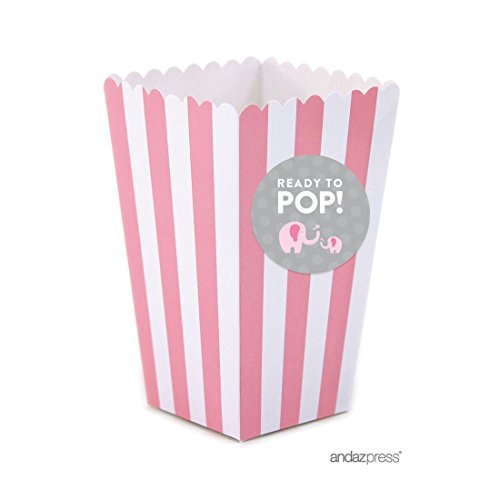 Baby Shower Favor Kits (Andaz Press Pink Girl Elephant Baby Shower Collection, Popcorn Box DIY Party Favors Kit, Ready to Pop!, 24-Pack)
