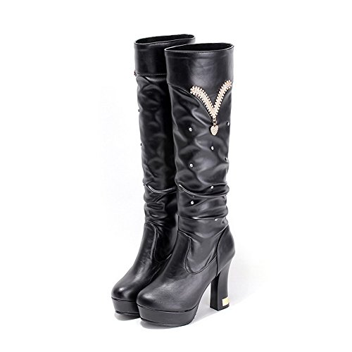 AgooLar Women's Solid High Heels Round Closed Toe Pu Pull On Boots Black wRLh7CU