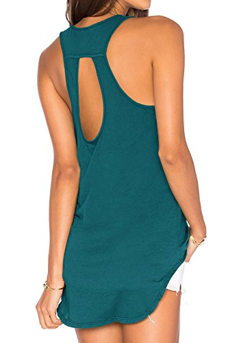 - Duppoly Open Back Tank Top Keyhole Back Cutout Shirts Activewear DarkGreen S