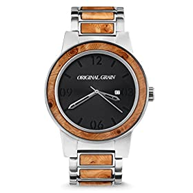 Original Grain Wood Watch | Barrel Collection Wrist Watch | Japanese Quartz Movement | Wood and Brushed Stainless Steel | 47MM & 42MM
