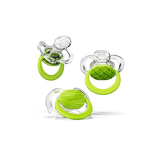 Smilo Orthodontic Pacifier, Green 3-9 Months, 3-Count