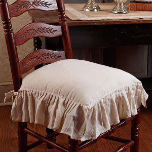 The Country House Collection Flax Ruffled French Country Chair Pad - French Country Chair Cushions