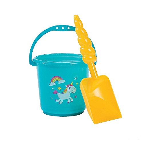 Fun Express Mini Rainbow Unicorn Buckets With Horn Shovels - 12 Pieces