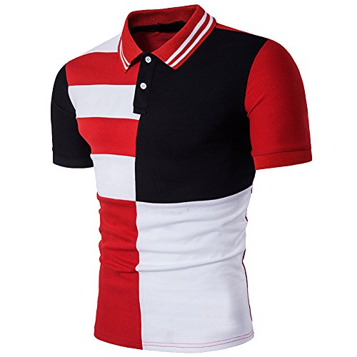 Cottory Mens Fashion Stripe Contrast Color Short Sleeve Polo T Shirt