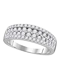 FB Jewels 10kt White Gold Womens Round Pave-set Diamond Double Two Row Band Ring 1.00 Cttw (I1-I2 clarity; H-I color)