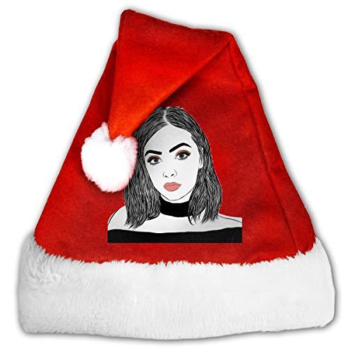 FGHJKL Drawing Tumblr Makeup Plush Santa Hat Comfortable Double Thick Plush Red Velvet Cap ()