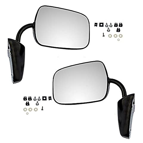 Pair of Manual Side View Black Steel Low Mount Mirrors Replacement for GMC Chevrolet Pickup Truck SUV Van - 1977 Gmc Van