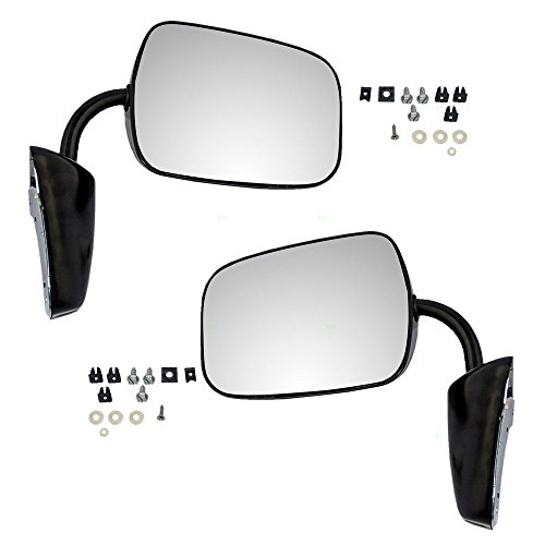 - Pair of Manual Side View Black Steel Low Mount Mirrors Replacement for GMC Chevrolet Pickup Truck SUV Van 996219