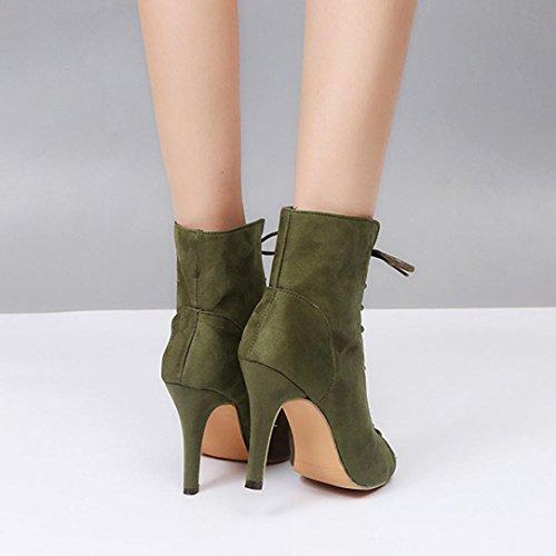 Strappy Caviglia Up 2 Taglie Spillo Donna Lolittas Sandali Lace Alto Peep Tacco Gladiator Women Ladies Per 10 Verde Fit Wide A Toe Summer wYHTag