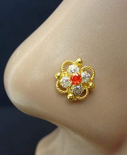 - Nose Stud,Mother Day Sale,Traditional Nose Stud,Tinny Nose Jewelry,Flower Nose Stud,Crock Screw Nose Stud,Gold Nose Piercing,Citrine Nose Piercing,Indian Nose Hoop,Indian Nose Jewelry(TEJ626)