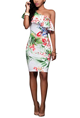 Suimiki Women's Sexy One Off Shoulder Floral Printed Ruffle Bodycon Midi Dress White Medium]()