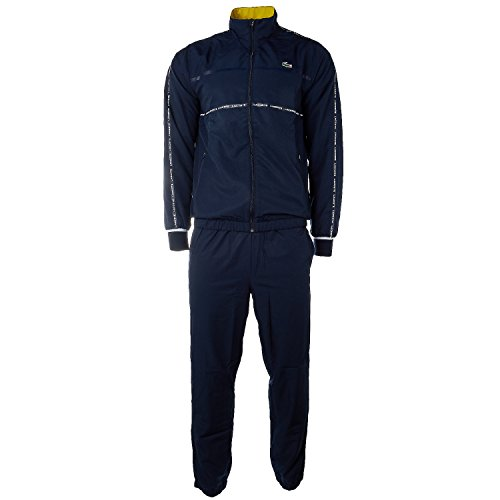 Lacoste Men's Tennis Diamond Weave Taffeta Tracksuit, Navy Blue/Soda Yellow/White, - Tennis Suit