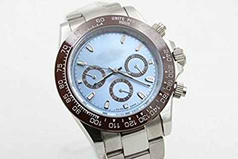 My_TimeZone Luxury Top Brand best swiss Automatic movement white gold color ceramic bezel sapphire glass stainless steel high quality watch (Rolex Color)