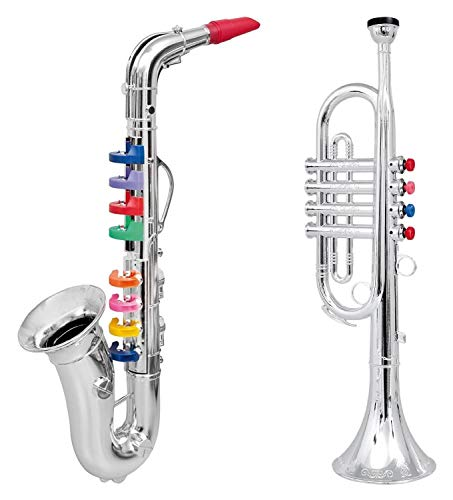 Click n' Play Set of 2 Musical Wind Instruments for Kids – Metallic Silver Saxophone and Trumpet Horn (Renewed)