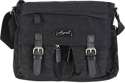 Spirit 9886 COLOURS SATCHEL BAG CROSSBODY HANDBAG Black LIGHTWEIGHT SHOULDER FAB STYLE zRO7qxrzw