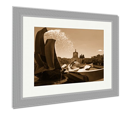 Ashley Framed Prints Salem Oregon Capitol Building And Water Fountain, Wall Art Home Decoration, Sepia, 30x35 (frame size), Silver Frame, - Salem Oregon Frame Shop