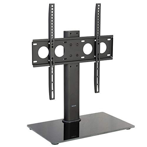 VIVO Black Universal TV Stand for 32 to 50 inch LCD LED Flat Screens | Tabletop VESA Mount with Tempered Glass Base and Cable Management (STAND-TV00J)