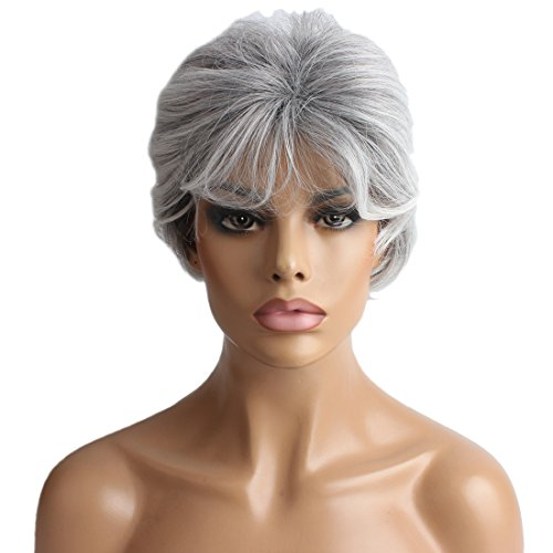 Wigs For Older Women (Riyang Older Women's Costume Wig Short Curly Heat Resistant Silver Gray)