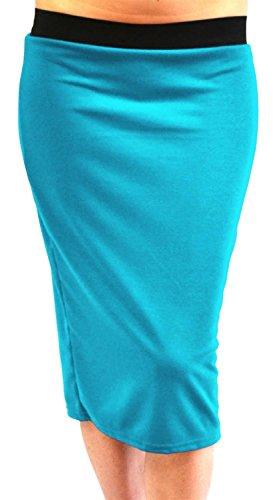 Nouveau Femmes Plus Taille Plaine Noir lastiqu Taille Band Pencil Midi Jupes 44-54 Turquoise