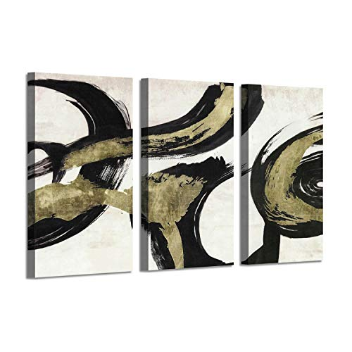 Color Art Print - Abstract Artwork Color Picture Print: Grey Winds Gold Foil Art Painting Print
