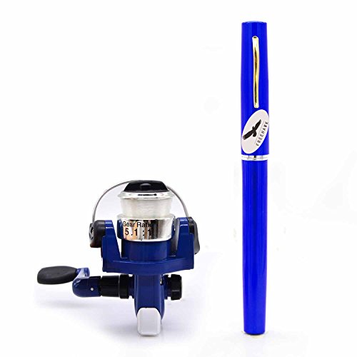 Freehawk® Mini Carbon Fiber Telescopic Pen Fishing Rod Pocket Pen Fishing Pole Pocket Travel Fishing Rod Sea Fishing Rods + 2000 Aluminum Spinning Fishing Reel + Fishing Line (Blue)