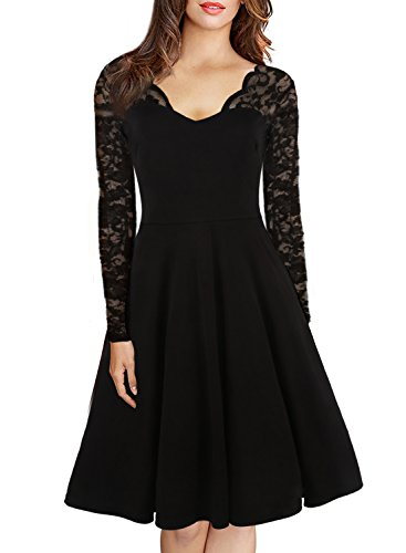 HELYO Women's 1950's Vintage V-Neck Floral Lace Long Sleeve Stretch Casual Party Swing Dress 189 Black S (Dress Lace Stretch)