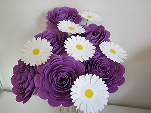 - Lovely Purple Roses and Daisies on Stems, One Dozen, Gift for Her, Flowers Home Delivery