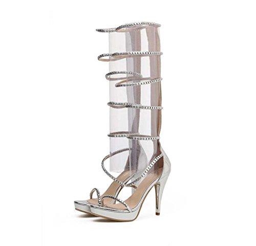 Onfly Gladiador rodilla alta botas Cool mujeres 11 CM Stiletto punta abierta hueco Rhinestone cremallera vestido botas zapatos romanos zapatos del banquete de boda Eu tamaño 34-40 Plata