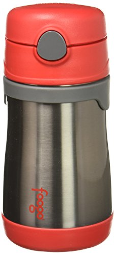 THERMOS FOOGO Vacuum Insulated Stainless Steel 10-Ounce Straw Bottle, Red/Grey