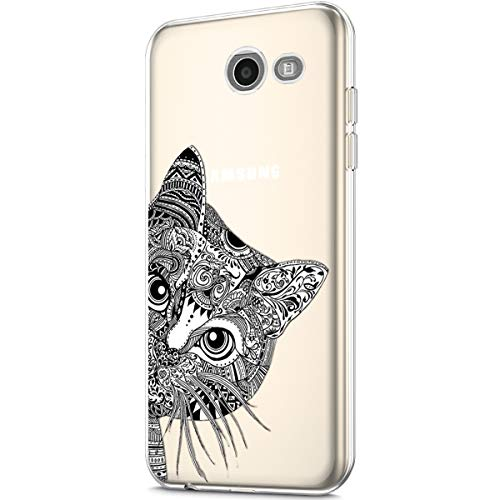 Price comparison product image ikasus Case for Galaxy J5 2017, Clear Art Panited Design Soft & Flexible TPU Ultra-Thin Transparent Flexible Soft Rubber Gel TPU Protective Case Cover for Galaxy J5 2017 Silicone Case, Black cat