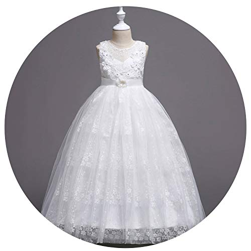 Princess Girls Dress 2019 Summer Lace Performance Evening Party Dress Kids Dresses for Girls Wedding Dresss,White1,4 (Cultural Dress Up Clothes)