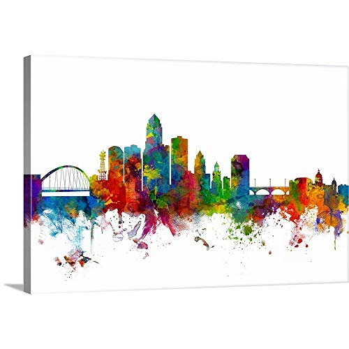 Des Moines Iowa Skyline, Multicolor on White Canvas Wall Art Print, 36