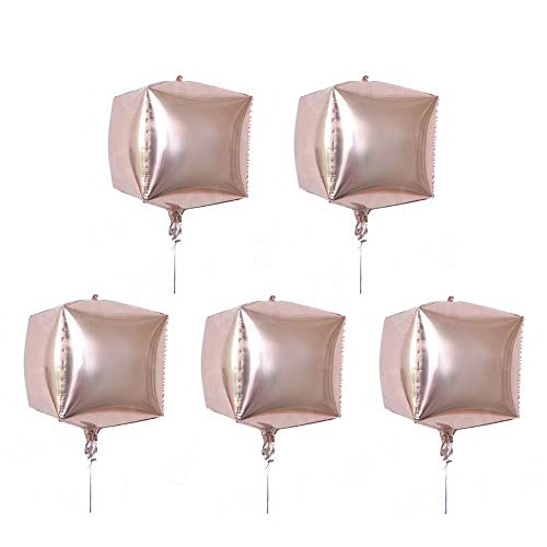 5 Pcs Cube Foil Balloons 24 Inches Square Shaped Aluminum Foil Balloon for Wedding Marriage Birthday Party Decor Supplies(Champagne Gold)]()