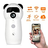 Mini Panda 1080P WiFi Camera Wireless IP Security System Night Vision, Infrared Detection, Call Feature, Two-Way Audio, Cloud Storage Home Surveillance, Baby Monitor
