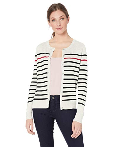 Amazon Essentials Women's Lightweight Crewneck Cardigan Sweater, White Stripe, -