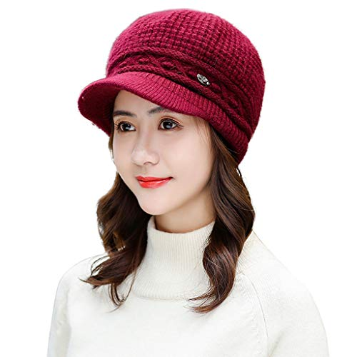 Zongrong Beanie Hat Winter Newsboy Beret Cap Warm Cotton Knitted Slouchy Wool Hats Ski Cap With Visor
