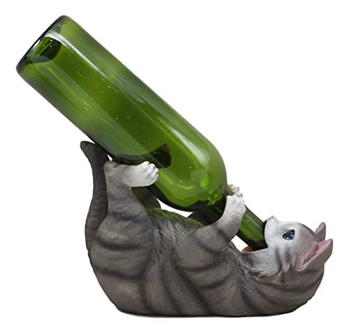 Ebros Feline Tabby Grey Kitty Cat Wine Bottle Holder Caddy Figurine for Whimsical Tabletop Wine Racks or Animal Statues & Kitten Figurines As Birthday Gifts Crazy for Cat Lovers (Grey Tabby)