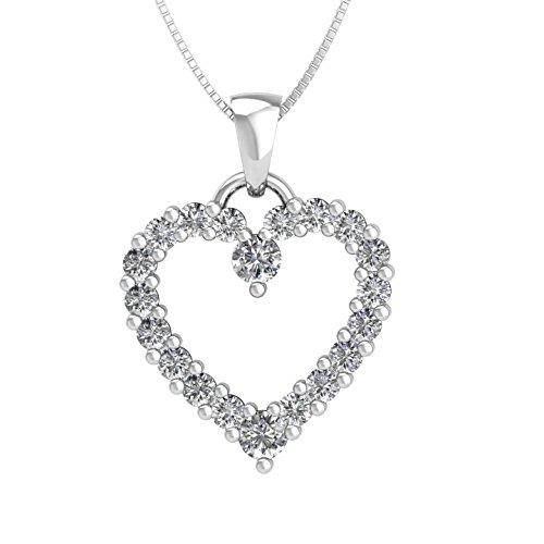 IGI Certified 10k White Gold Heart Diamond Pendant Necklace (1/2 (10k Gold Diamond Heart Pendant)