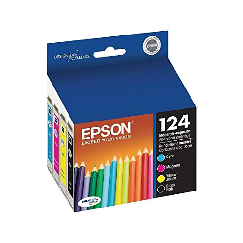 Epson Genuine 124 T124 Ink Inkjet Catridege Includes T124120 T124220 T124320 T124420 (1 Black, 1 Yellow, 1 Cyan, 1 Magenta) for Stylus NX125, NX127, NX230, NX130, NX430 Workforce 325, 320, 323, 435