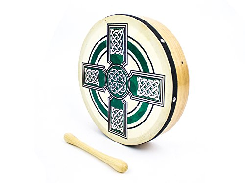 ProKussion Green Celtic Cross Design 10'' Diameter Irish Bodhran and Beater by Pro Kussion