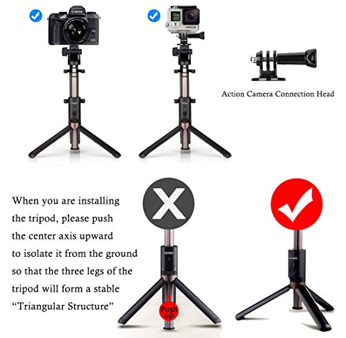 Selfie Stick Bluetooth, 4-in-1 Extendable Selfie Stick Tripod with Wireless Remote Shutter for iPhone12 11/Pro Max/XS/Max/XR/X/8/8P/7/7P/6S, Galaxy S10/S9/S9 Plus/S8/S7/ S6/S5/Note 8, Huawei and More