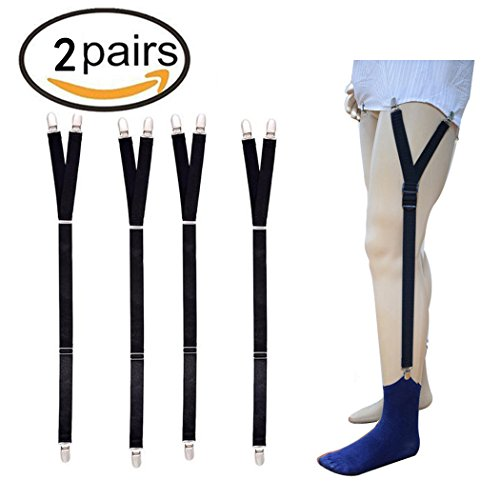 PHANPING Mens Shirt Stays Military Adjustable Elastic Garter Straps Sock Non-slip Clamps 2 (2 Strap Slip)